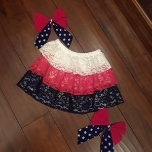 PATRIOTIC red white blue  Ruffled Tier Skirt 5T